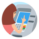 Woman using ATM machine. Vector illustration round icone isolated white background. Stock Photography