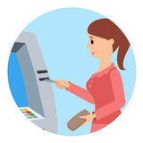 Woman using ATM machine. Vector illustration round icone isolated white background. Stock Photos
