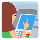 Woman using ATM machine. Vector illustration square icone isolated white background. Stock Photo