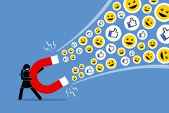 Woman using a big magnet to attract social media likes thumb up, and smiles. Vector artwork illustration depicts the concept of social media attraction, likes Royalty Free Stock Photo