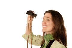 Woman using binoculars Royalty Free Stock Photo