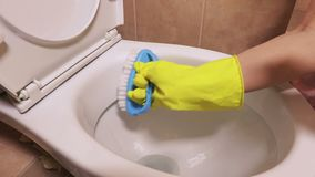 Woman using brush and spray for toilet bowl cleaning. In room stock video footage