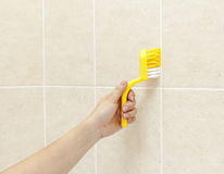 Woman using brush to wash shower tiles Royalty Free Stock Photo
