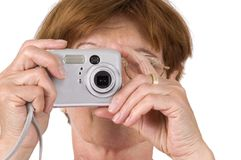 Woman using camera Royalty Free Stock Photo