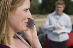 Woman Using Cell Phone Stock Image