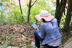 Woman using a cell phone in the forest Stock Photos
