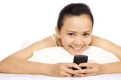 Woman Using Cellphone Stock Photo