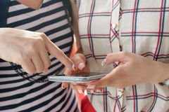 Woman using cellphone Stock Images