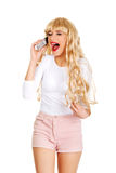 Woman using cellphone. Royalty Free Stock Photography