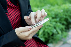 Woman using cellphone,smart phone,phone Royalty Free Stock Photo