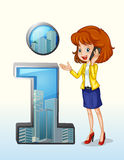 A woman using a cellphone standing beside the number one symbol. Illustration of a woman using a cellphone standing beside the number one symbol on a white Royalty Free Stock Photo