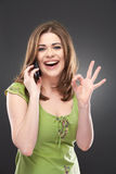 Woman using cellphone Royalty Free Stock Photos