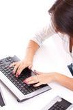 Woman using computer Stock Photo