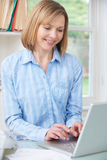 Woman Using Computer In Home Office Stock Images