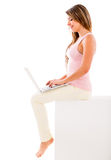 Woman using a computer Royalty Free Stock Image