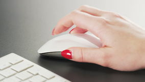Woman Using Computer Mouse stock video footage