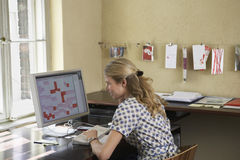 Woman Using Computer In Office Stock Images