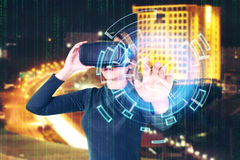 Woman Using 3-D glasses  in virtual reality glasses or headset Royalty Free Stock Images
