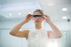 Woman using 3d video glasses Royalty Free Stock Photos