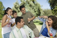 Woman using digital camera photographing son (13-15) with father brother and sister. Stock Photography