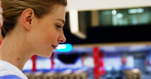 Woman using digital tablet stock video footage