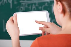 Woman Using Digital Tablet In Classroom Royalty Free Stock Image