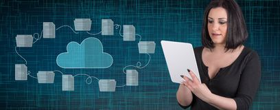 Concept of cloud storage. Woman using digital tablet with cloud storage concept on background stock image