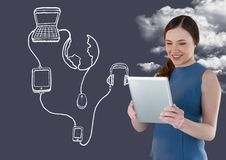 Woman using digital tablet with digitally generated application icon. Smiling woman using digital tablet with digitally generated application icon against sky Stock Photography