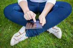 Woman using digital tablet PC Royalty Free Stock Photo