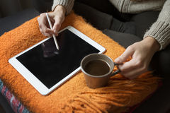 Woman Using Digital Tablet With Touch Pen Royalty Free Stock Photo
