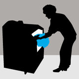 Woman Using Dryer Machine Vector Illustration