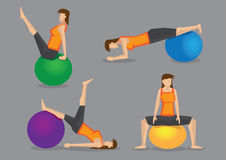 Woman Using Exercise Ball for Workout Royalty Free Stock Image