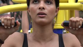 Woman Using Exercise Equipment stock video
