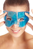 Woman using gel mask Royalty Free Stock Image