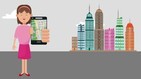 Woman using GPS app at city HD animation. Woman using GPS app from smartphone at city cartoons High definition coloful animation scenes stock video