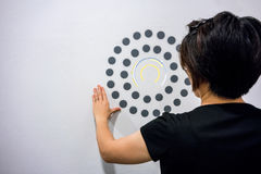 Woman using hands with dot graphic and circle diagram on white w. All. Business info graphic interface design concept Stock Image
