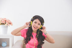 Woman using a headset Royalty Free Stock Photo