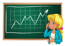 A woman using her cellphone in front of chalkboard Stock Photography