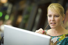 Woman Using Her Laptop Computer Stock Images