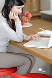 Woman using her laptop at home Royalty Free Stock Photo