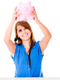 Woman using her savings Stock Photos