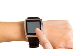 Woman using her smart watch Stock Photos