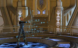Woman using Hologram Royalty Free Stock Image