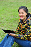 Woman using ipad 4 Stock Photos