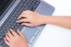 Woman using laptop computer Royalty Free Stock Image
