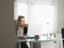 Woman Using Laptop In Home Office Stock Photography