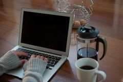 Woman using laptop in kitchen. At home Stock Photos