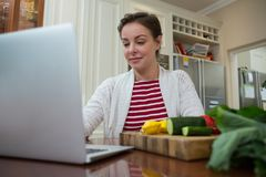 Woman using laptop in kitchen. At home Royalty Free Stock Photo