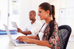 Woman Using Laptop In Modern Office Of Start Up Business Stock Photos
