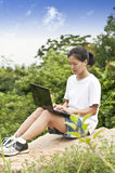 Woman using laptop outdoor Royalty Free Stock Images